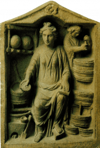 Bas-relief depicting a pharmacy stand