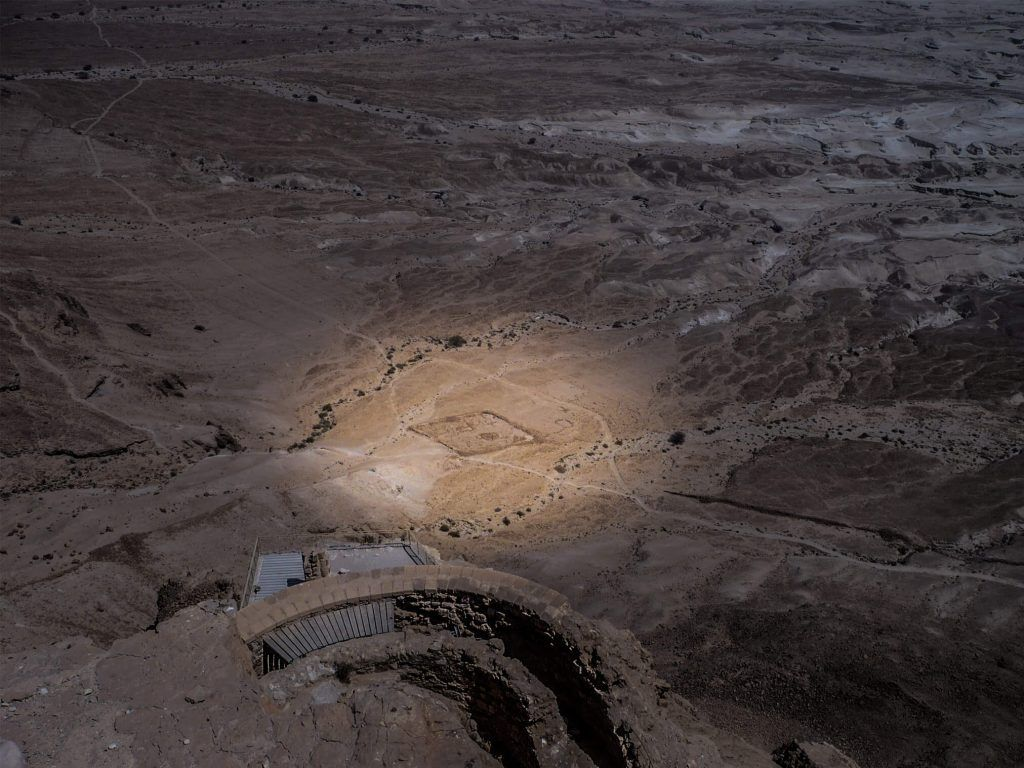Roman camps in the siege of Masada. Israel