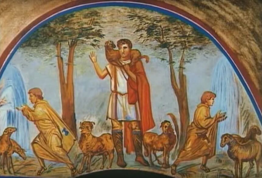 The Good Shepherd with the sheep on his shoulders. Catacombs of Rome (Saint Calixtus)