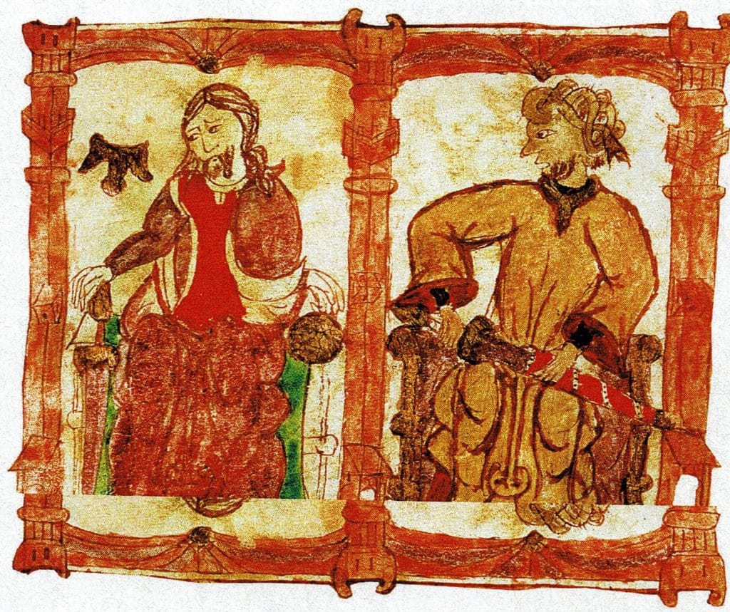 King Roderic and Tariq. From the Semblances of Kings (manuscript of the eleventh century)